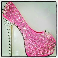 Pink High Heels - These would look great with my black spiked hair wig with the pink patch. Now I just need the right dress.