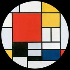 I want this design for my dinner plate — Mondrian Red Blue Yellow Modern Art Glass Dome Desktop Paperweight 3W