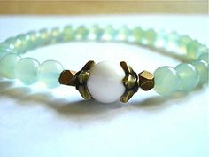 New Jade and White Agate Meditation Bracelet by peaceofminejewelry, $21.00
