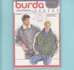 Burda 6207 Mens Large Winter Double Breasted by FlashbackFinds