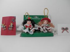 4 Pc Set Miniature Porcelain Ornament Dolls Christmas by 2lewa