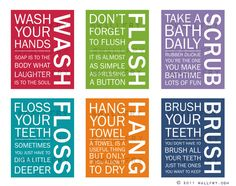 Bathroom Art Prints Rules Kids Wall Quotes Wash Brush Floss Flush