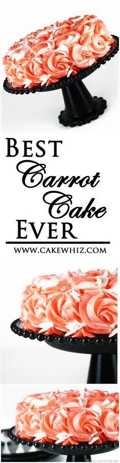 The best carrot cake ever! Everyone always asks for my recipe. And I also did a tutorial on these easy buttercream roses so that your cake looks pretty too! | cakewhiz.com | #cake
