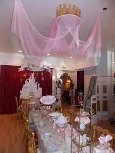 princess canopy over birthday party.