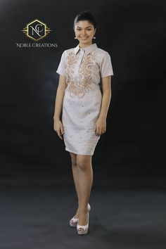 Modern FILIPINIANA Dress Linen BARONG TAGALOG Philippine Barong Tagalog Wedding, Barong Tagalog For Women, Modern Filipiniana Gown, Filipiniana Wedding, Grad Dresses, Dress Outfits, Formal Dresses, Filipino Fashion, Philippines Fashion