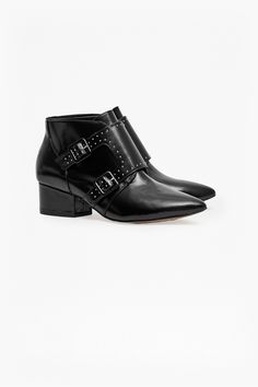 Roree Double Buckle Stud Leather Boots  | SALE | French Connection Canada