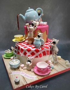 Teapot & Teddies Silver Award - Cake by Carol Pretty Cakes, Cute Cakes, Beautiful Cakes, Amazing Cakes, Crazy Cakes, Fancy Cakes, Fondant Cakes, Cupcake Cakes, 3d Cakes