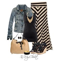 Outfit skirt Casual Outfit – chevron skirt and jean jacket…. Casual Outfit – chevron skirt and jean jacket….I wouldn't use those accessories…I would have flip flops and bling. Mode Outfits, Fall Outfits, Summer Outfits, Casual Outfits, Fashion Outfits, Womens Fashion, Summer Clothes, Fall Clothes, Fashion Hair