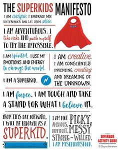 The Superkids Manifesto Printable Wall Art. A thoughtful way to encourage your child to find their superpowers as you tackle everyday challenges as a parent. Learning Tips, Early Learning, Teaching Resources, Calming Activities, Family Activities, Therapy Activities, I Am Unique, Strong Willed Child, Parents