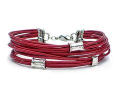 RED Leather and Silver Bracelet 12 Strand Leather Bracelet