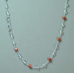 "LINDA'S BROWN GOLDSTONE CLEAR QUARTZ & SILVER FINISHD BRASS 17"" CHOKER NECKLACE #LindasCabsJewelryGemstones #Choker"