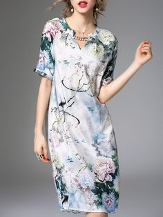 Multicolor Vintage V Neck H-line Midi Dress