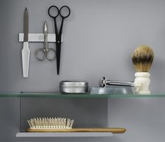 Our mirror cabinets come with a movable metal shelf and a magnetic strip for scissors and nail files.