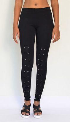 """""""Rivet Bound"""" Cotton & Lycra Leggings- Ankle Length. Pick your order at https://www.estrolo.com/product-category/women/leggings/ #DesignerLeggings #Leggings #EstroloFashion"""