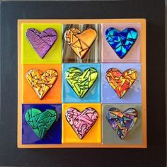 9 Hearts in Multicolor with Black frame- dichroic heart wall piece measures 16''x16''