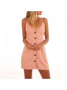 ab1045e5eee Dresswel Women Tie Up Open Back Button Front Mini Dress Spaghetti Strap  Dresses---