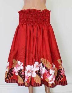Looking for the perfect Hula Skirt? Look no further check out this beautiful red hula skirt with tropical print. Love it! #hula  Aloha Hula Skirt Wild Hibiscus : Shaka Time Hawaii Clothing Store