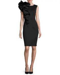8c1d7ada23d6 Jovani Sleeveless Ruffle-Trim Crepe Sheath Dress