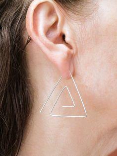 Triangle Spiral Earrings Threader Earring Sterling Silver Earring Gold Earring Wire Earring Minimalist Earring Modern Earring Simple Earring Simple Earrings, Wire Earrings, Simple Jewelry, Sterling Silver Earrings, Rose Art, Triangle Shape, Minimalist Earrings, Or Rose, Spiral