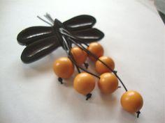 Vintage Bakelite Dragonfly Dangle Brooch