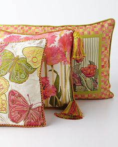 -5USQ MacKenzie-Childs Butterfly & Tulip Pillows