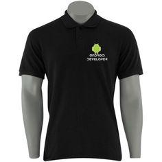 Camisa Polo - Android Developer - Preta