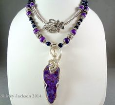 Handmade Purple Turquoise and Lapis Necklace Shirley by AJewelryC