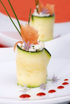 Photo about Two Zucchini Rolls with smoked salmon and herbed Goat cheese. Image of healthy, roll, prepared - 7286677 Zucchini Rolls, Cucumber Rolls, Fresh Chives, Smoked Salmon, Food Inspiration, Panna Cotta, Cheese, Fruit, Eat