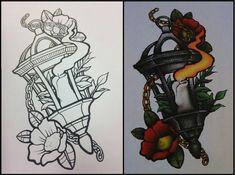 Neo traditional tattoo sketch, Lamp tattoo