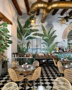 FOR ME LAB on: Fancy a caf in Colombia This Cartagena caf / restaurant offers . - FOR ME LAB on: Fancy a caf in Colombia This Cartagena caf / restaurant offers a chic and vintage bo - Coffee Shop Design, Cafe Design, House Design, Design Design, Coffee Shop Interior Design, Design Ideas, Tropical Interior, Tropical Decor, Interior Plants
