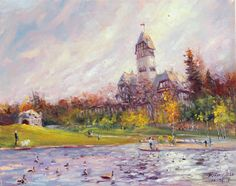 Weiming Zhao, Autumn at Assiniboine Park in Winnipeg MB, Oil on Canvas 16 X 20 in. $360.00 #Canadian #Art