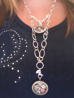 "Great way to change your fashion look for under $10! Simply attach an Origami Owl locket extender to you 32"" flat oval chain!"