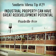 Industrial property can have great redevelopment potential #southernathenatips #nashville #cre Contact us today for interest in redeveloping a property you have your eye on. We do a thorough #investment #analysis before you buy to determine if the renovations will be worth while. #development #realestate & #architecture #germantown #design #sweetspot