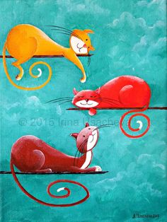Original Cat Painting for Sale : Fantasy Cats by NaturelandsAndCo