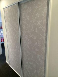 Wallpaper wardrobe doors, great for a hallway. Closet Doors Painted, Mirror Closet Doors, Sliding Wardrobe Doors, Room Doors, Mirror Door, Men Closet, Room Closet, Door Design Images, Diy Cupboards