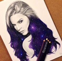 art, draw, drawings, galaxy, pencil art, purple, space