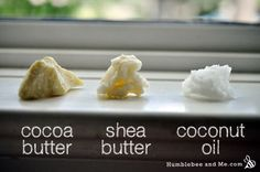 These three carrier oils/butters are all very different, especially in the scent category!j. This  describes the differences in and functions of various carrier oils, not just the ones in this photo.