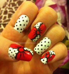Bows and polka-dot nails. Red. Cute.