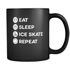 Ice skating - Eat Sleep Ice skate Repeat - 11oz Black Mug