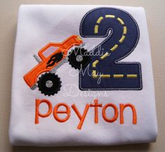 Items similar to Monster truck birthday shirt - appliqued and personalized on Etsy Third Birthday, 4th Birthday Parties, Baby Birthday, Birthday Shirts, Birthday Ideas, Monster Truck Birthday, Monster Trucks, Monster Jam, Birthdays