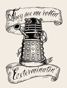 Doctor Who limited edition woodblock print: They Hatin'. $35.00, via Etsy.