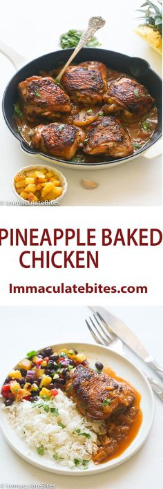 Baked Pineapple Chicken Thighsin roast pineapple and slightly garlicspicysauce.Juicy, tender and loaded with flavor.