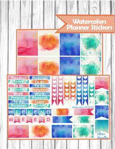 Watercolors Planner Stickers for Erin Condren, Happy Planner, Filofax, kikki.K