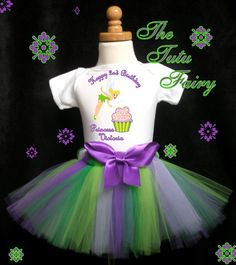 Tinkerbell first 1st Birthday Tutu Set outfit Baby Girl Purple 12 18 fairy | eBay