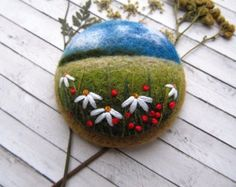 Embroidered gift for woman Needle felted brooch Miniatures floral gift blue Sky jewelry mom gift Friend birthday gift embroidered brooch Fabric Brooch, Felt Brooch, Needle Felting Kits, Wet Felting, Felt Pictures, Embroidered Gifts, Bunny Crafts, Felting Tutorials, Friend Birthday Gifts