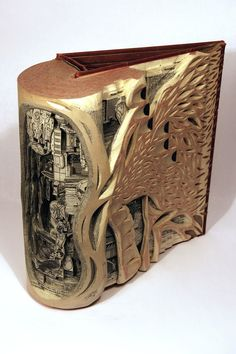 Art created using old books and surgical tools. Beautifully carved and imaginative. Check out the link for more!