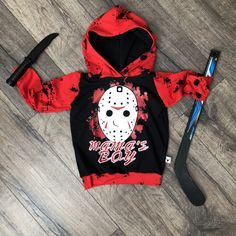 Mamas Boy Friday the Scary Romper/Dress/Hoodie Toddler Fashion, Toddler Outfits, Baby Boy Outfits, Kids Outfits, Goth Baby, Punk Baby, Romper Dress, Hoodie Dress, Custom Baby Gifts