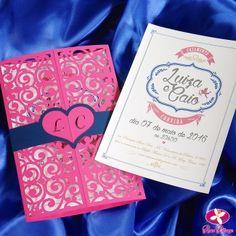 Convite de Casamento com corte a laser - Modelo Romântica. www.rosapittanga.com.br
