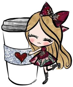 Coffee Girl, I Love Coffee, Coffee Coffee, Coffee Pictures, Cute Images, Cute Illustration, Girl Cartoon, Cute Drawings, Cute Wallpapers