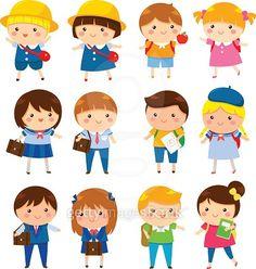 Cute school kids vector image on VectorStock Cartoon Kids, Cute Cartoon, Yoga For Kids, Art For Kids, Comic Book Girl, School Labels, School Clipart, Creative Poster Design, Kids Vector